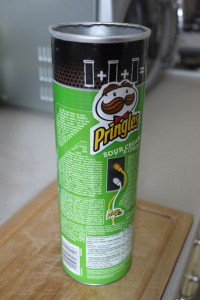1. Take an empty tube of Pringles - remove the crumbs!