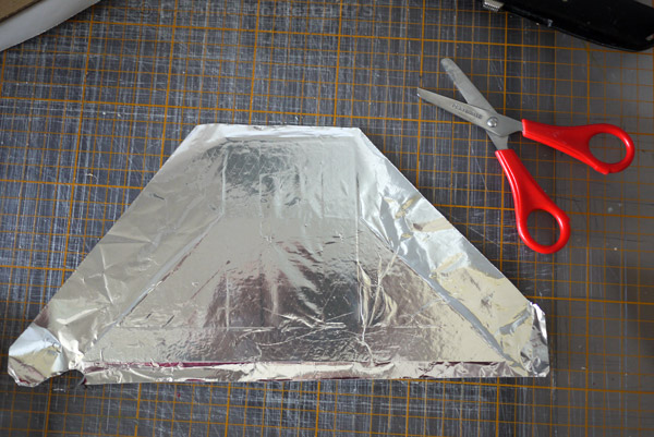 6. Stick the foil onto one side of the card