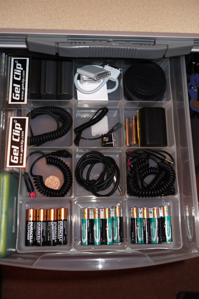 Flash cables, gels and batteries