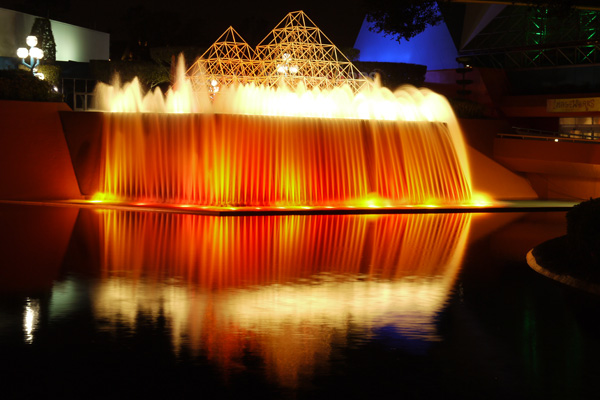 Misty Fountains After Dark
