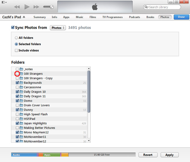 iTunes - Uncheck the folder which was previously synced